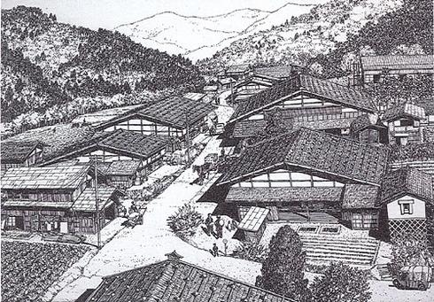 昭和45年焼失前の集落の様子の再現(画:吉田桂二)